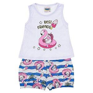 Conjunto Bebê Feminino Flamingo Branco Duzizo