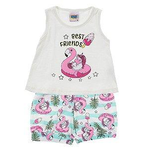 Conjunto Bebê Feminino Flamingo Creme Duzizo