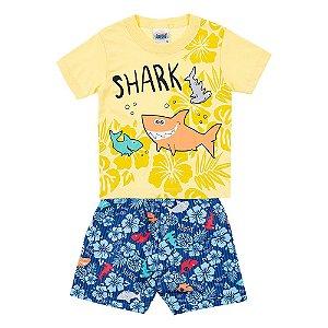 Conjunto Bebê Masculino Tubarão Amarelo Duzizo