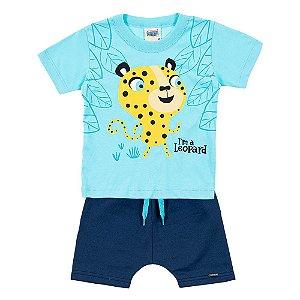 Conjunto Bebê Masculino Leopardo Azul Duzizo