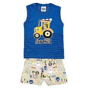 Conjunto Regata Bebê Masculino Trator Azul Duzizo