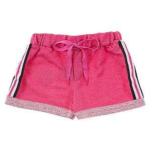 Shorts Infantil Feminino Jeans Rosa Duzizo