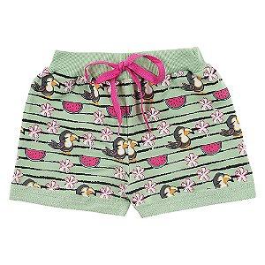 Shorts Infantil Feminino Melancia Verde Duzizo