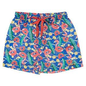 Shorts Infantil Feminino Flamingo Azul Duzizo