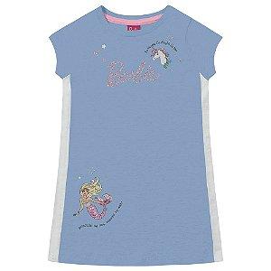 Vestido Infantil Feminino Barbie Sereia Azul Fakini