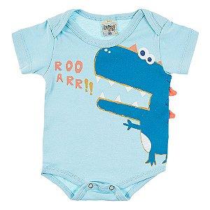 Body Bebê Masculino Dino Azul Didiene
