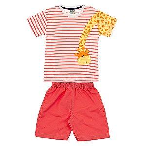 Conjunto Infantil Masculino Girafa Vermelho Didiene