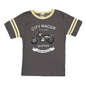 Camiseta Infantil Masculina Moto Cinza Didiene
