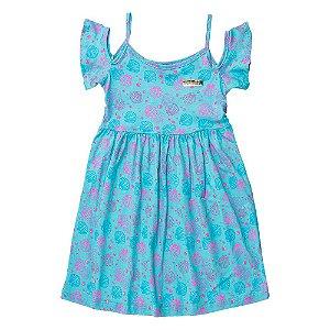Vestido Ciganinha Infantil Feminino Conchas Azul For Girl