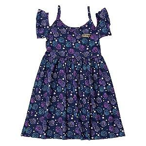 Vestido Ciganinha Infantil Feminino Conchas Azul Marinho For Girl