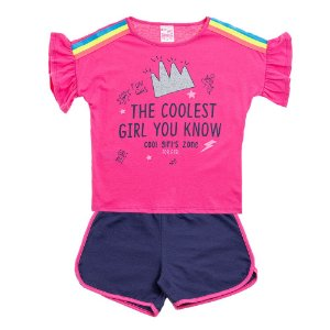 Conjunto Infantil Feminino Fun Girls Rosa Escuro For Girl