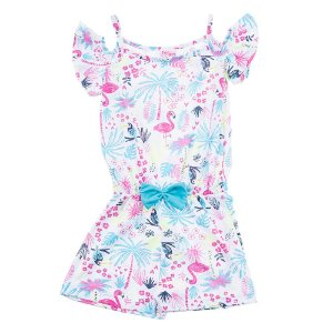 Macaquinho Infantil Feminino Flamingo Azul For Girl