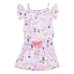 Macaquinho Infantil Feminino Flamingo Rosa For Girl