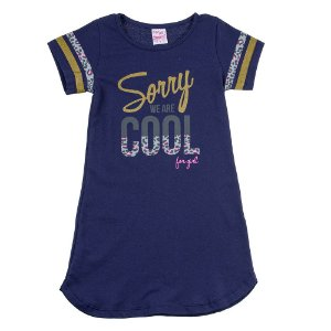 Vestido Infantil Feminino We Are Cool Azul Marinho For Girl