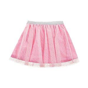 Saia Infantil Feminina Glitter Rosa Claro For Girl