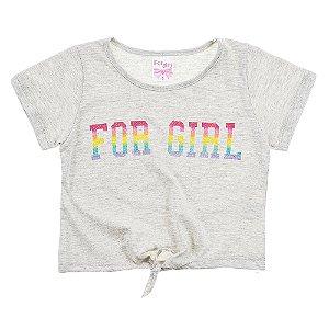 Blusa Infantil Feminina Com Amarração Mescla For Girl