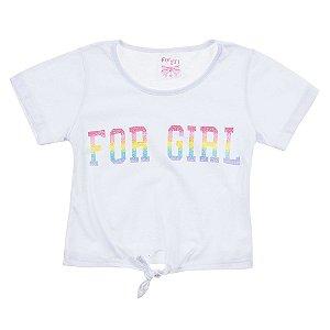 Blusa Infantil Feminina Com Amarração Branca For Girl