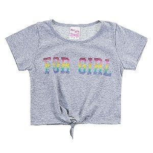 Blusa Infantil Feminina Com Amarração Cinza For Girl