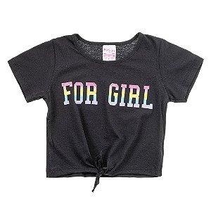 Blusa Infantil Feminina Com Amarração Preta For Girl