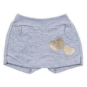 Short Saia Infantil Feminino coração Cinza For Girl