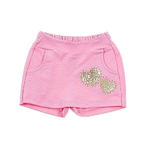 Short Saia Infantil Feminino coração Rosa For Girl