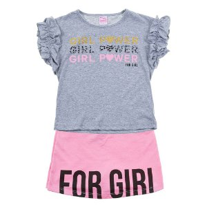 Conjunto Infantil Feminino Girl Power Cinza For Girl
