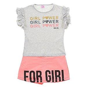 Conjunto Infantil Feminino Girl Power Mescla For Girl