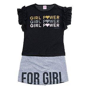 Conjunto Infantil Feminino Girl Power Preto For Girl