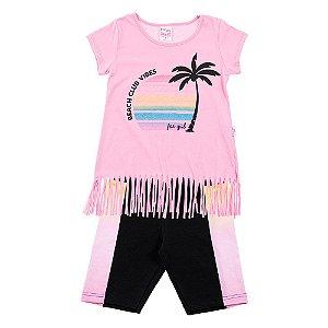 Conjunto Infantil Feminino Praia Rosa For Girl