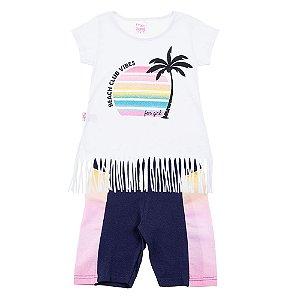 Conjunto Infantil Feminino Praia Branco For Girl