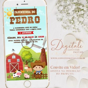 Convite Animado Fazendinha em Vídeo Cowboy ou Cowgirl