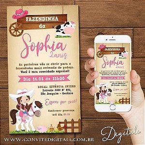 Convite Fazendinha Menina ou CowGirl - Arte Digital