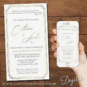 Convite de Casamento Clássico Clean Dourado - Arte Digital