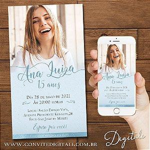 Convite 15 anos Azul Claro Serenity com Foto - Arte Digital