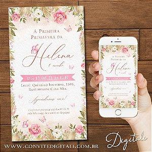 Convite Jardim Aquarela Boho - Arte Digital