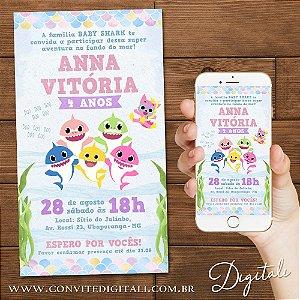 Convite Baby Shark Candy Colors Aquarela - Arte Digital