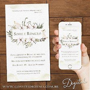 Convite Florido Orquídea Branca Aquarela - Arte Digital