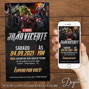 Convite Vingadores - Arte Digital