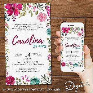 Convite Aniversário Florido Rosa e Ciano Aquarela - Arte Digital