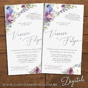 Convite Florido Aquarela Lilás e Lavanda - Arte Digital