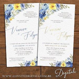 Convite Florido Aquarela Azul e Amarelo - Arte Digital
