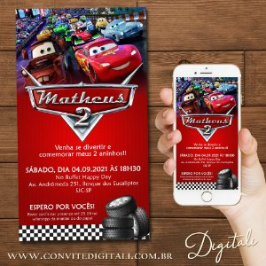 Convite Carros Disney - Arte Digital