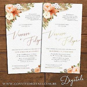 Convite Aquarela Florido Coral e Dourado - Arte Digital