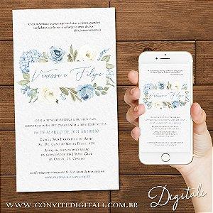Convite Florido Aquarela  Azul Greenery com Hortência - Arte Digital