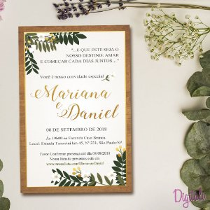 Convite Casamento Rústico Verde e Branco - Arte Digital