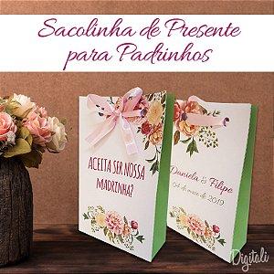 Convite para Padrinhos Casamento Rosa Florido - Arte Digital