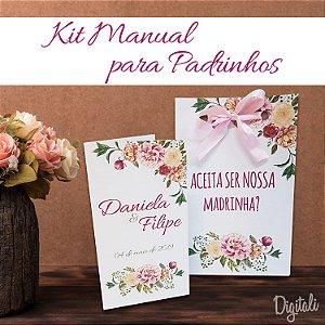 Manual e Convite para Padrinhos Casamento Rosa Florido - Arte Digital