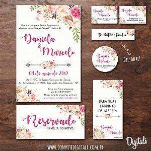 Identidade Visual Casamento Florido Rosa - Arte Digital