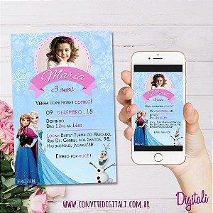 Convite Frozen com Foto - Arte Digital