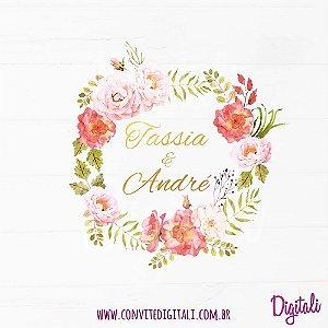 Brasão Casamento Florido Rosa e Coral - Arte Digital